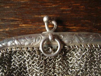 reizende Jugendstil Geldbörse Geldbeutel Kettentasche mit Innenfach 800er Silber - Vorschau 3