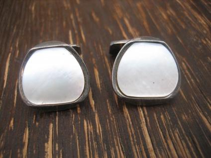 prächtige Art Deco Manschettenknöpfe 835er Silber Perlmutt ausgefallene Form