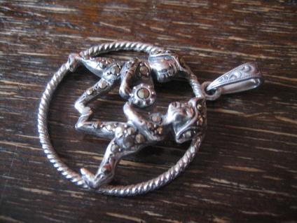 großer Art Deco Markasit Anhänger Sternzeichen Zwilling Horoskop 925er Silber - Vorschau 2