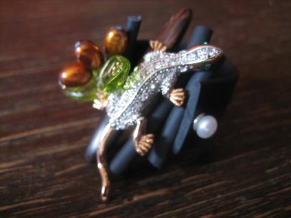 Traumhafter Designer Statement Ring Eidechse Salamander Unikat Arts & Crafts