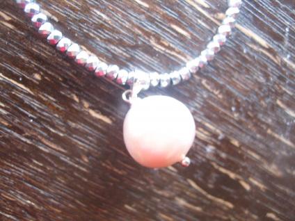 Designer Anhänger 925er Silber echte Perle Natur weiß rosé AAA 13 - 14 mm Kette