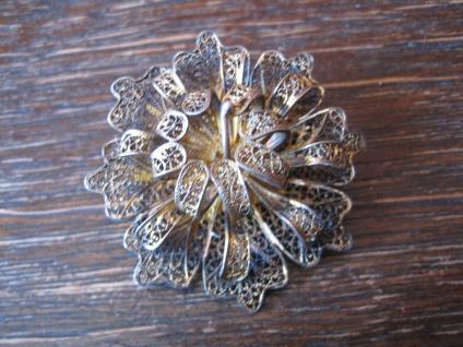 zarte Jugendstil Brosche Stern Blume Blüte 800er Silber Filigranarbeit um 1920