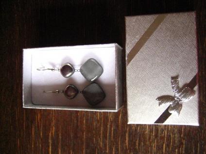 hochelegante Ohrringe Hänger grau silber NEU Kunsthandwerk Arts & Crafts Boho - Vorschau 2