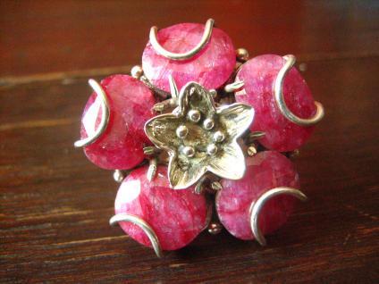prächtiges Unikat Statement Ring riesige Rubine Rubin Ring 925er Silber 18, 25 mm