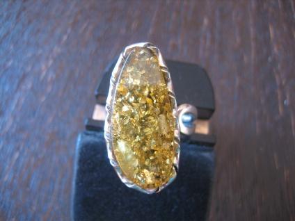 exklusiver Statement Designer Bernstein Ring 925er Silber Unikat RG 58 + NEU
