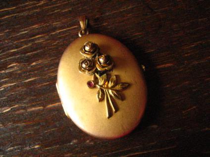 nostalgisches Jugendstil Medallion Anhänger Rose gold Double plastische Rosen