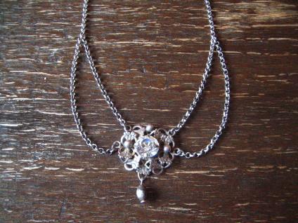 reizvolles antikes Trachten Dirndl Collier Kette 835er silber Erbskette Glitzerstein