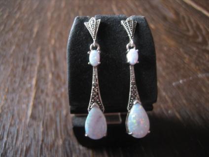 Traumhaft schöne Opal Markasit Ohrringe Hänger im Art Deco Stil 925er Silber