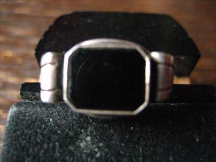 klassisch feiner Art Deco Damen Ring Siegelring Onyx 835er Silber RG 52 16, 5 mm
