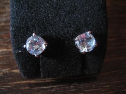 bezaubernde Ohrringe Stecker Blautopas 925er Silber Aquamarin Farbe 6 mm neu