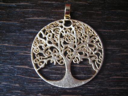 prächtiger großer Anhäger Lebensbaum Baum des Lebens 925er Silber vergoldet 4 cm