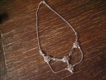bezauberndes Trachten Collier Kette 835er Silber rote Koralle Dirndl Kropfkette - Vorschau 2