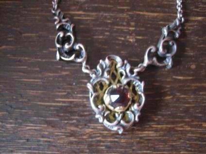 reizendes antikes Trachten Dirndl Granat Collier Kette 835er Silber BS Blachian