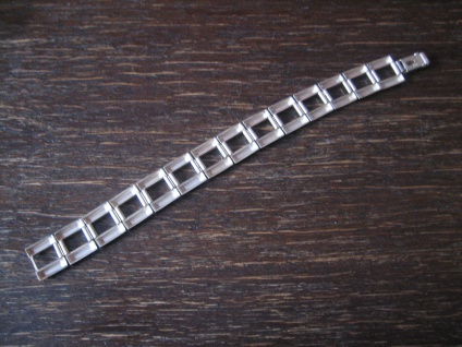 edles breites Art Deco Armband elegante Kassetten Form 835er Silber 19 cm lang - Vorschau 3
