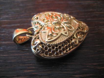 Liebesgrüße aus Italien edler vintage Designer Herz Anhänger 925er Silber gold - Vorschau 3