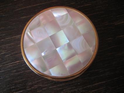 herrliche Vintage Puderdose Spiegel gold Perlmutt Max Factor Creme Puff 50er