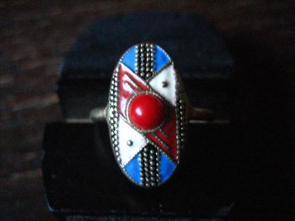 feinster Art Deco Ring Mattemaille Emaille emailliert 800er Silber vergoldet