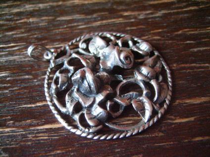 reizender antiker Rosen Anhänger Rose plastisch 835er Silber Tracht Dirndl 3 cm - Vorschau 3