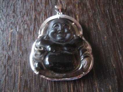 traumhafte Steingravur Laughing Buddha lachender Anhänger 925er Silber Rauchquarz