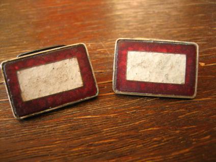 avantgardistische Art Deco Manschettenknöpfe Emaille emailliert 835er Silber