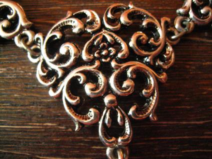 reizvolles Trachten Dirndl Collier im Antik Stil silber rosa Pampel an Erbskette - Vorschau 2