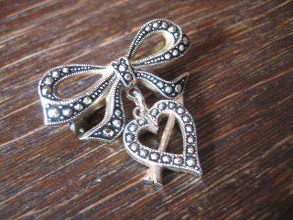 süße Vintage Herz Brosche getroffenes Herz Pfeil Schleife Amor für Verliebte - Vorschau 2