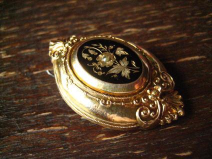 prächtige wunderschön verzierte Biedermeier Brosche gold Emaille Nostalgie pur ! - Vorschau 3