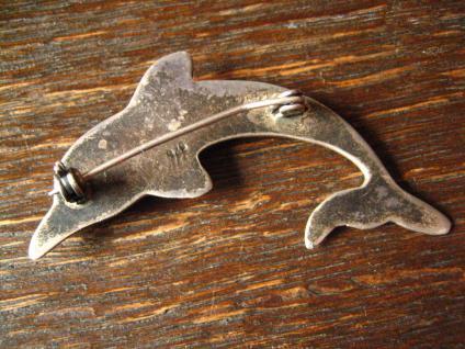 große tolle vintage Brosche spielender Delfin Delphin Dolphin 925er Silber - Vorschau 4