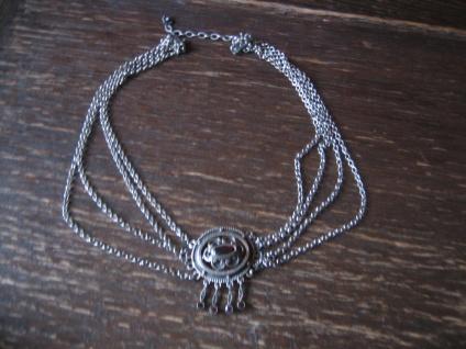 prächtige Kropfkette Collie Biedermeier Stil 835er Silber Granat Tracht Dirndl