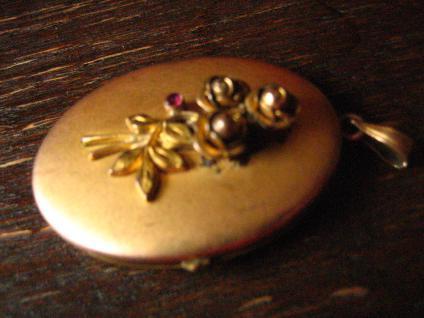 nostalgisches Jugendstil Medallion Anhänger Rose gold Double plastische Rosen - Vorschau 3