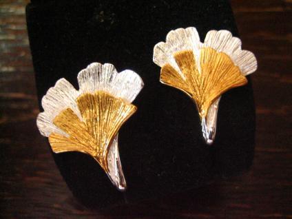 super tolle Gingko Ginkgo Blatt Ohrringe Stecker 925er Silber gold 2 Blätter - Vorschau 2