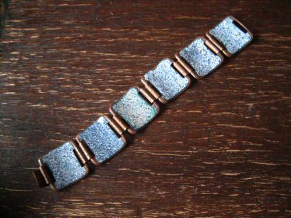 traumhaftes Vintage Designer Emaille Armband strahlend blau Blüten 2, 8 cm breit - Vorschau 3