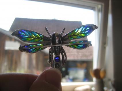 herrliche große Insekten Brosche Libelle Anhänger 925er Silber bunt emailliert - Vorschau 4