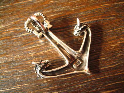 großer maritimer Anhänger Anker mit Krone Drachen Köpfe Pirat 925er Silber neu B - Vorschau 4