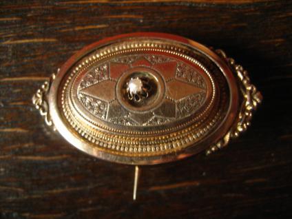 traumhafter überreich verzierter Biedermeier Anhänger Brosche gold Schaumgold - Vorschau 2