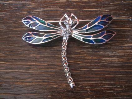 traumhaft schöne Insekten Brosche Libelle Anhänger 925er Silber bunt emailliert