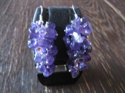 lange prächtige Ohrringe Hänger Amethyst silber lila violett bewegliche Trauben
