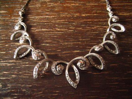 reich verschnörkeltes Art Deco Collier Markasit 835er Silber florale Konzeption - Vorschau 1