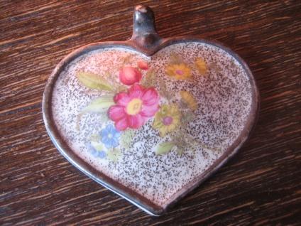 vintage Miniaturmalerei Porzellanmalerei Anhänger Herz Form selten Rosenthal