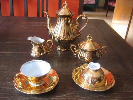 reizendes goldenes Dejeuner Tête a Tête Porzellan Mokka Service für 2 Personen