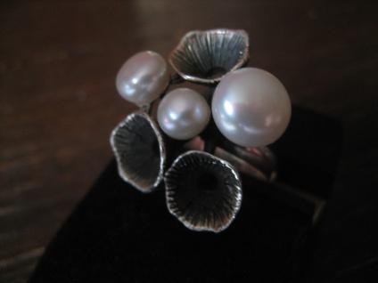 origineller Designer Ring echte Zuchtperlen organische Struktur 925er Silber NEU - Vorschau 3