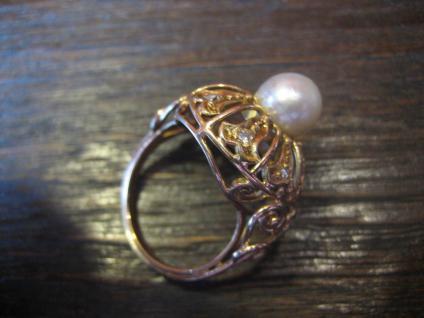 Königlicher Diamant Brilliant Ring echte Perle 585er Gold Cocktailring Perlenring - Vorschau 3