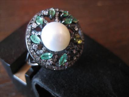 origineller Glitzer Ring mit Spinne und Perle 925er Silber grüne Farbsteine - Vorschau 2