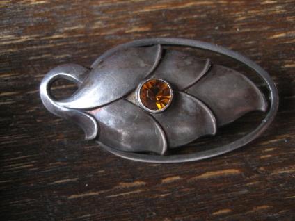 elegante Jugendstil Brosche Blatt Silber Stein orange Art Nouveau Leaf Brooch