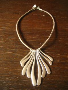 extravagante Statement Collier Kette Designer Leonardi Arte silber Leder grau