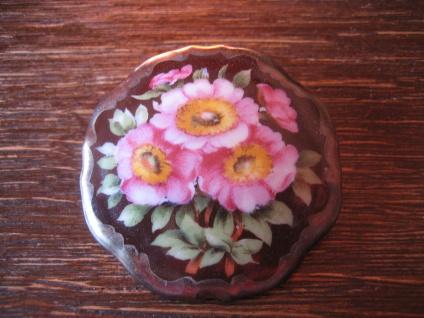 vintage Miniaturmalerei Porzellanmalerei Brosche üppige bunte Blüten Schumann C - Vorschau 1