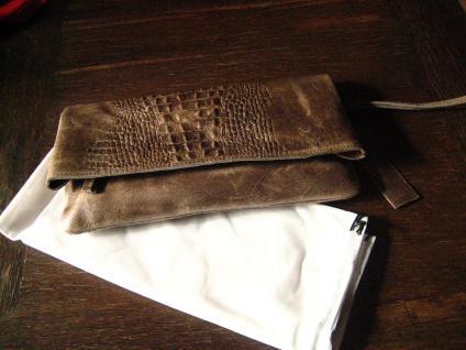 luxuriöse echt Leder Tasche Clutch Kroko Prägung schwarz Designer R. Leonardi - Vorschau 4