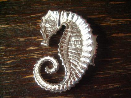herrlicher großer Seepferdchen Anhänger massiv 925er Silber wie lebensecht poliert - Vorschau 3