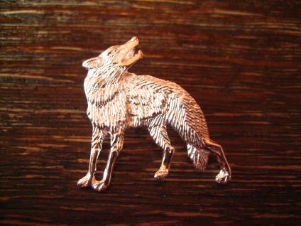 super schöner Wolf Anhänger heulender Wolf heult Mond an plastisch 925er Silber