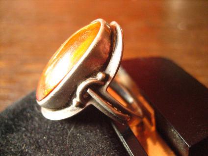 prächtiger Art Deco 835er Silber Ring mit großem Bernstein Unikat 17, 2 mm RG 54 - Vorschau 2
